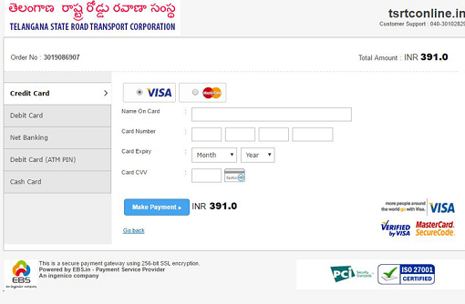 TSRTC Payment