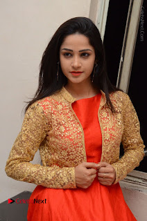 Telugu Actress Divya Nandini Stills in Orange Sleeveless Gown at Chennai Chaitrama Movie le Launch Event  0116.JPG