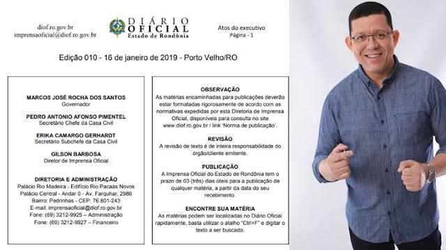Diário Oficial traz a nomeação de 1.540 nomeados nesta quarta-feira no Governo de Rondônia