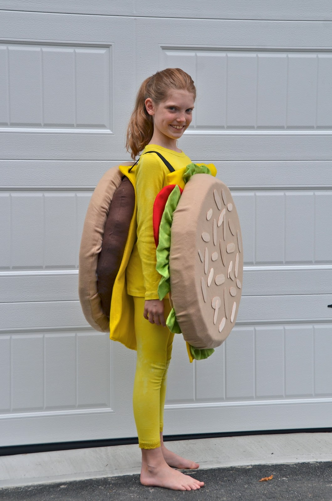 we had a little bit of a hard time coming up with costume ideas this year once grace decided to be a hamburger we brainstormed ideas for harris hotdog