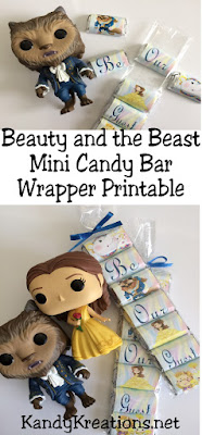 Looking for a sweet party favor for your Beauty and the Beast party? These mini candy bar wrappers are beautiful and super easy to create a great party treat, favor, or invitation when you go see the new Beauty and the Beast movie or celebrate at your Beauty and the Beast birthday party.