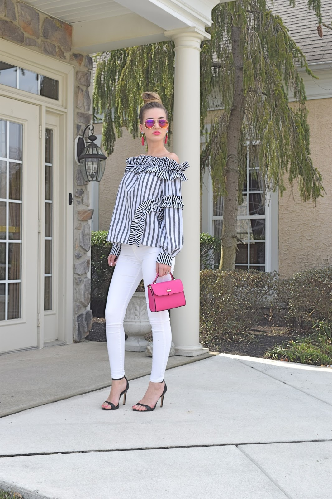 wearing Grey And White Striped Ruffle Off The Shoulder Top, white topshop jeans, zara black ankle strap heels, sugarfix by bauble bar pink tassel earrings
