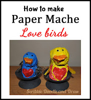 How to make paper mache love birds valentines day crafts for kids