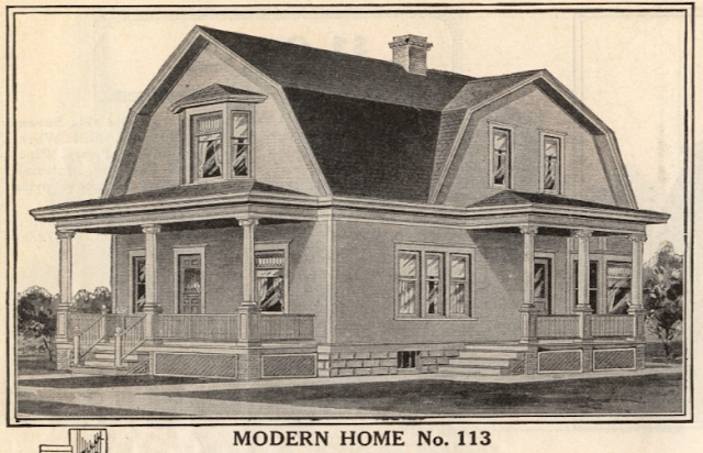 B & W image from 1914 Sears Modern Homes catalog, showing Modern Home No. 113