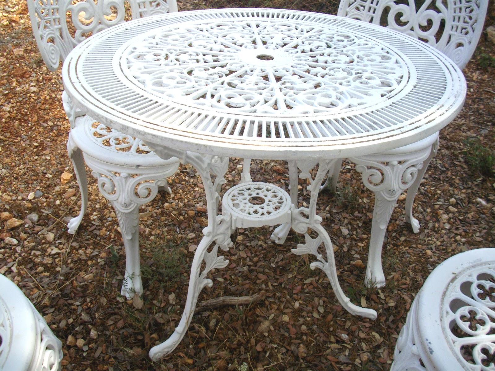 salon de jardin ROCAILLE blanc immitation fonte no fer forgé ...