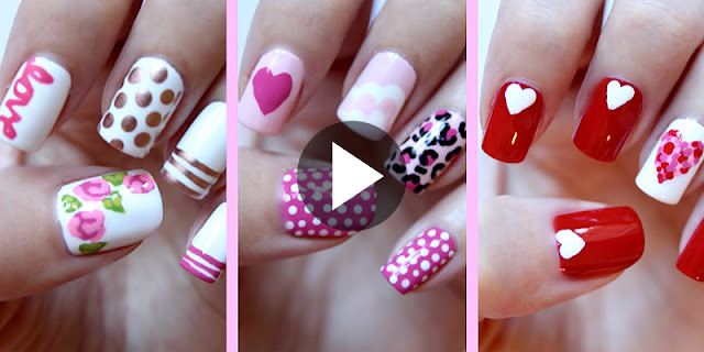 DIY - How To  Make Three Heart Nail Designs - See Tutorial