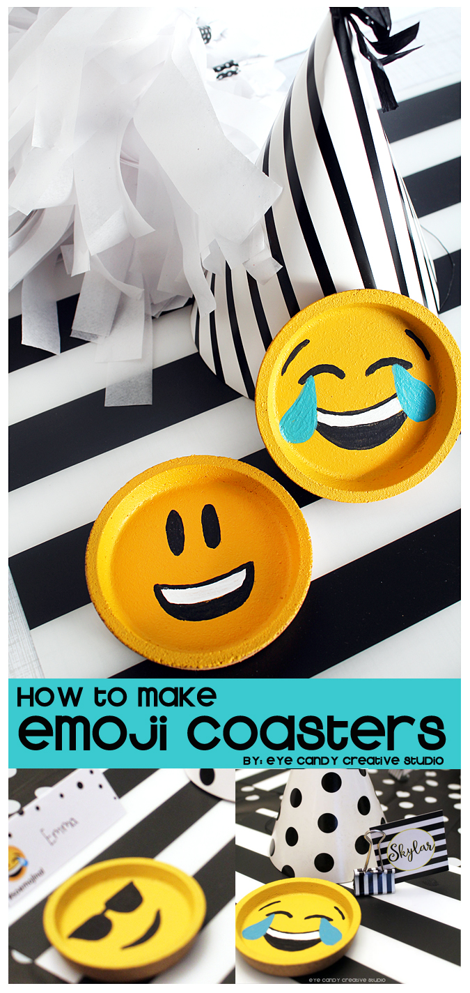 how to make emoji coasters, emoji party, emoji craft idea, painting emojis