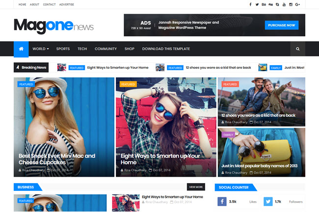 MagOne – Responsive Magazine Blogger Template