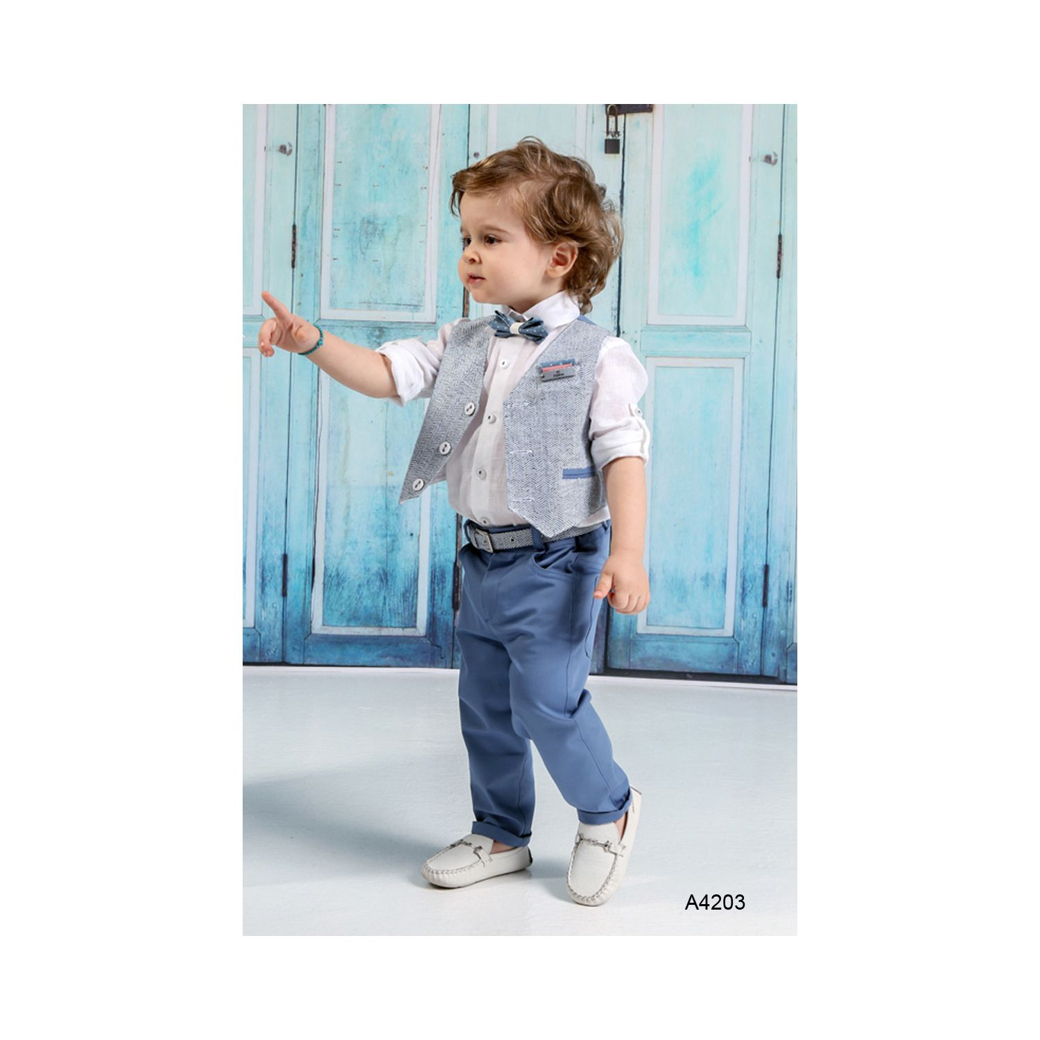 Blue jean baptism suit for boy A4203