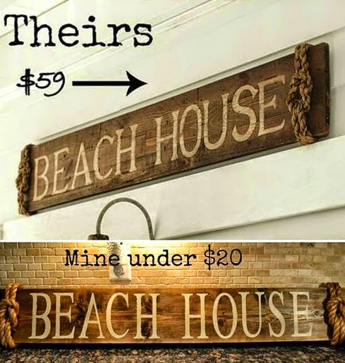All You Need To Knock Off Pottery Barn S Beach House Sign Is A Wood Plank And Some Thick Rope This Looks Almost Identical The Original