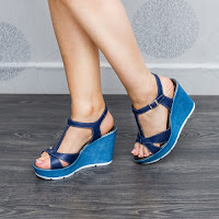 Sandale dama Piele Deseres albastre cu platforma (modlet)