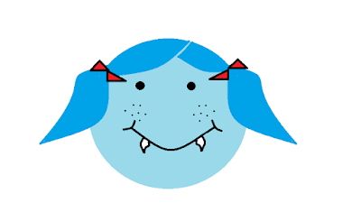 Cartoon picture of a face with hair in pigtails and vampire fangs
