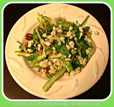 Apples with Shaved Asparagus, Gorgonzola, and Pecans from Inspiralized