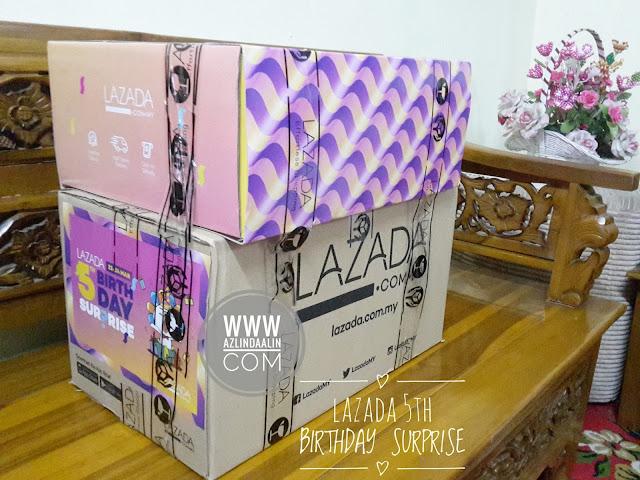 YEAY MY LAZADA SURPRISE BOX DAH SAMPAI  Sempena Lazada's 5th Birthday Surprise Sale pada 22 - 24 Mac 2017