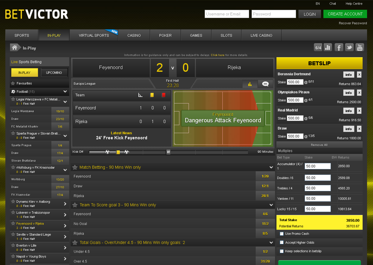 BetVictor In-Play Betting Screen