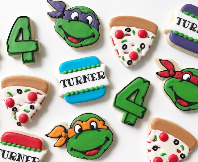 ninja turtle cookies, custom cookies, ninja turtle birthday, ninja turtle birthday party, boys birthday party, kids birthday
