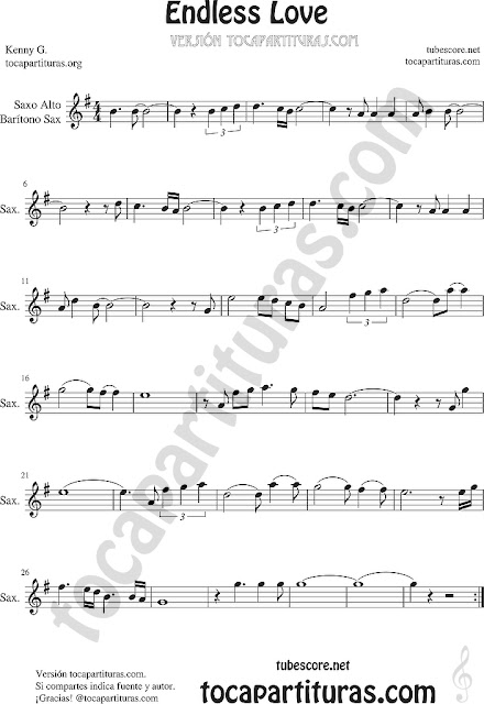 Saxofón Alto y Sax Barítono Partitura de Endless Love Sheet Music for Alto and Baritone Saxophone Music Scores