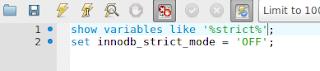 perintah MySQL untuk menon-aktifkan innodb_strict_mode
