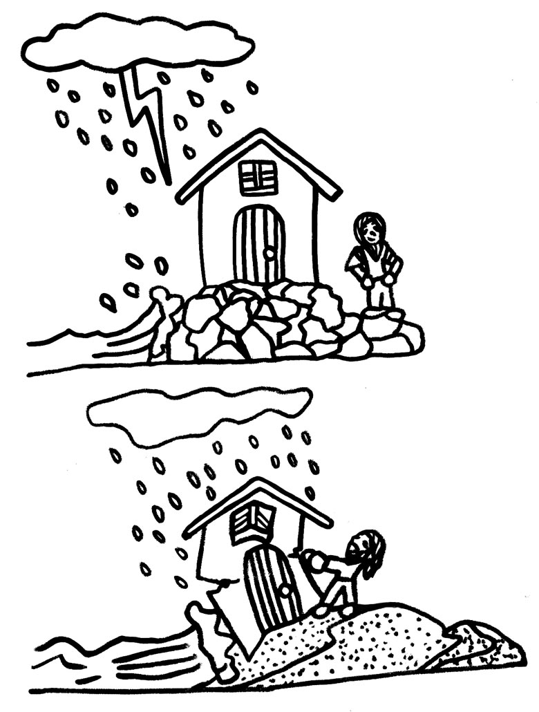 hight resolution of wise man foolish man coloring page