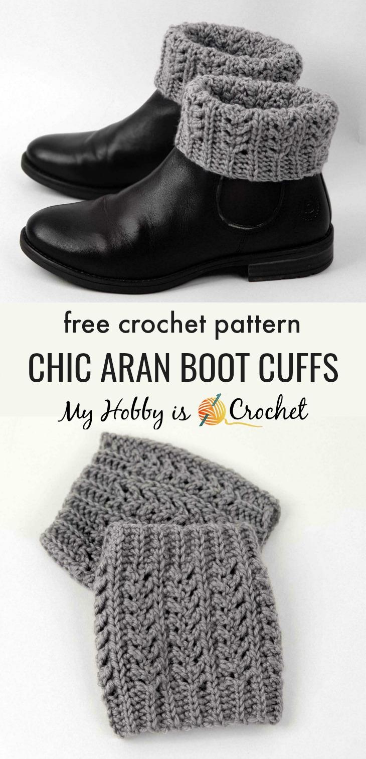 Chic Aran Boot Cuffs - Free Crochet Pattern on myhobbyiscrochet.com