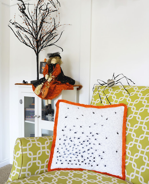 Making spider swarm pillow is easy with Cricut Easy Press