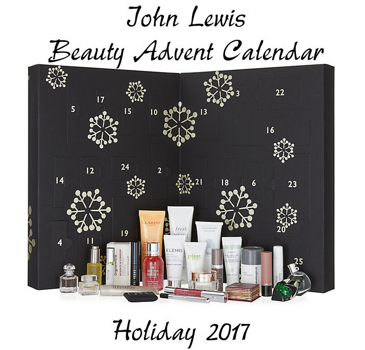 he full contents of the John Lewis Beauty Advent Calendar for Holiday 2017.
