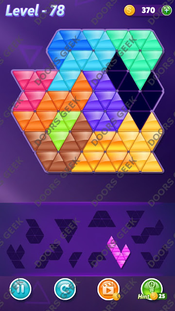 Block! Triangle Puzzle Challenger Level 78 Solution, Cheats, Walkthrough for Android, iPhone, iPad and iPod