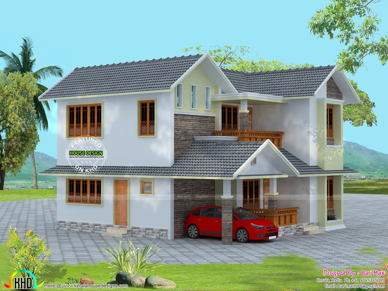 184 square meter 4bhk home kerala home design and floor for Modern house 49