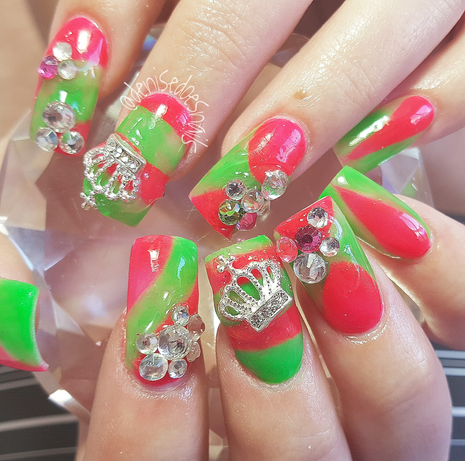Nail art by denise groves spring bling hot pink and lime green nails prinsesfo Choice Image