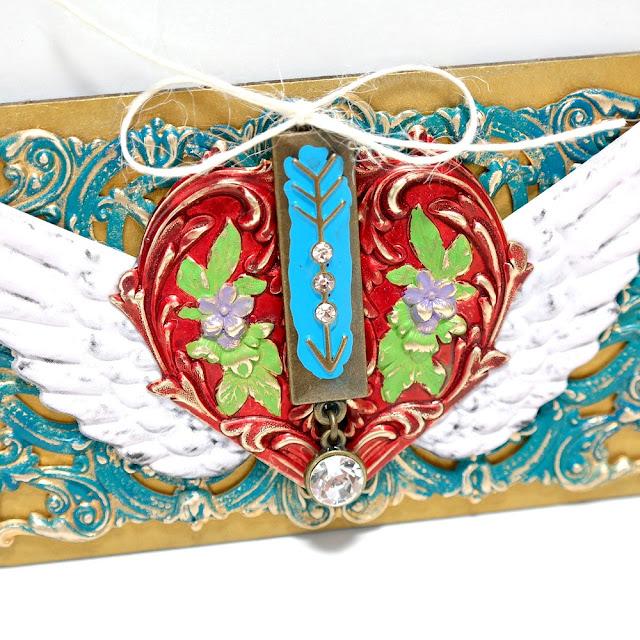 Winged Heart Mixed Media Board Closeup by Dana Tatar for Tando Creative