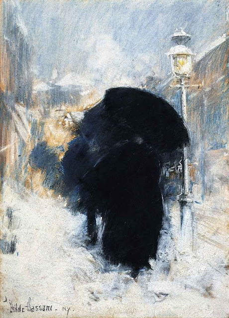 Childe Hassam painting of urban winter walking