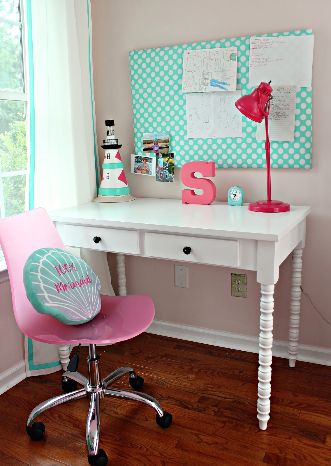 Turquoise Desk Chair Target Bentwood Bistro Chairs For Sale Carolina On My Mind Savannah 39s Bedroom Mini Makeover Reveal