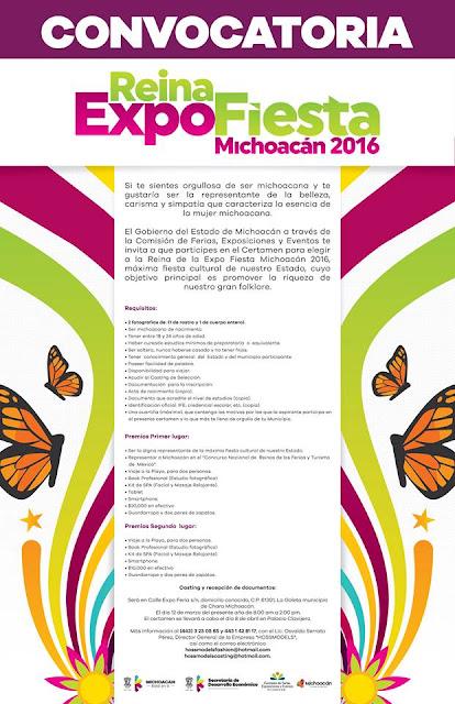 convocatoria reina feria michoacan 2016