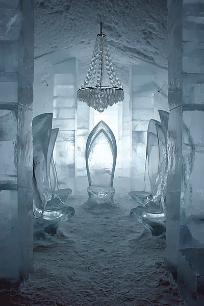 There is a hotel in Sweden built entirely out of ice,it is rebuilt every year.