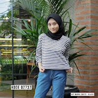 ANDHIMIND Kaos Stripetee Lengan Panjang White  Black Big List