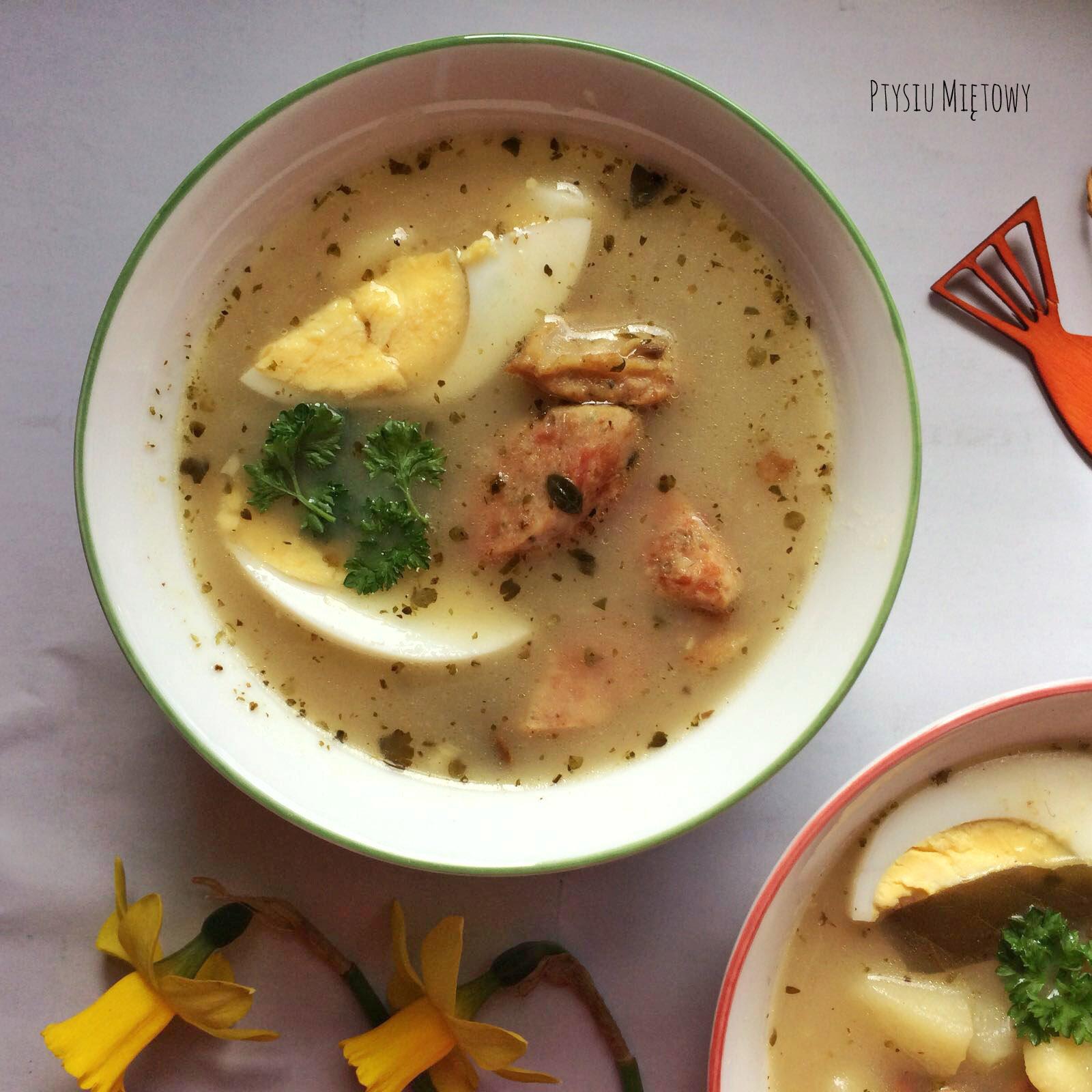 zupa. żurek, ptysiu mietowy