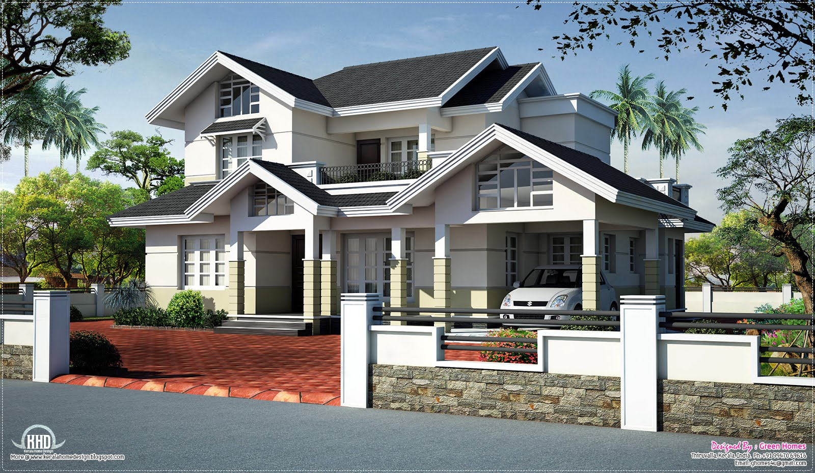 Sloped roof house elevation design kerala home design for Sloped roof house plans in india