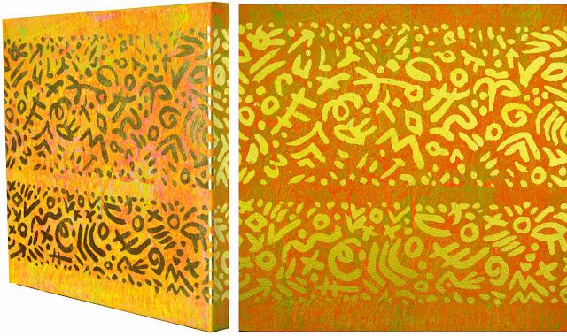 Malerei Acryl und Blattgold auf Leinwand, Dagmar  Mahlstedt