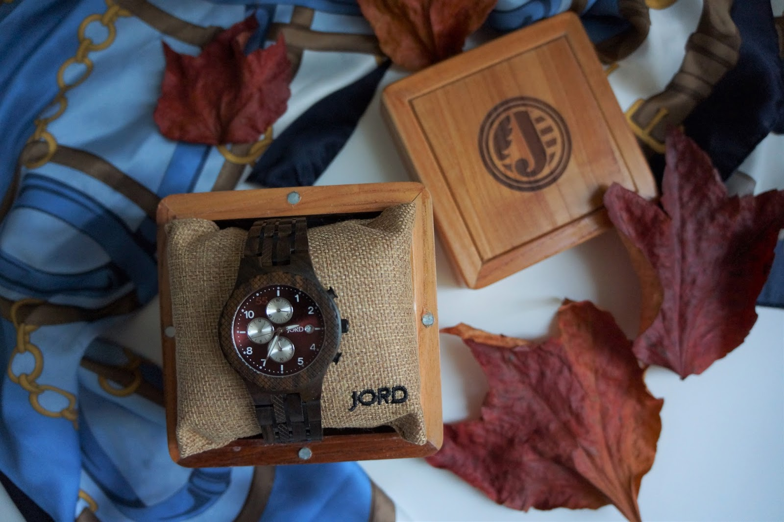 JORD Conway men's watch with dark sandalwood and burgundy face