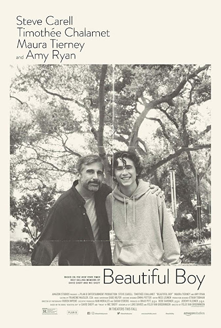 Poster for Beautiful Boy starring Steve Carell and TImothée Chalamet based on the father and son memoirs by David and Nic Scheff