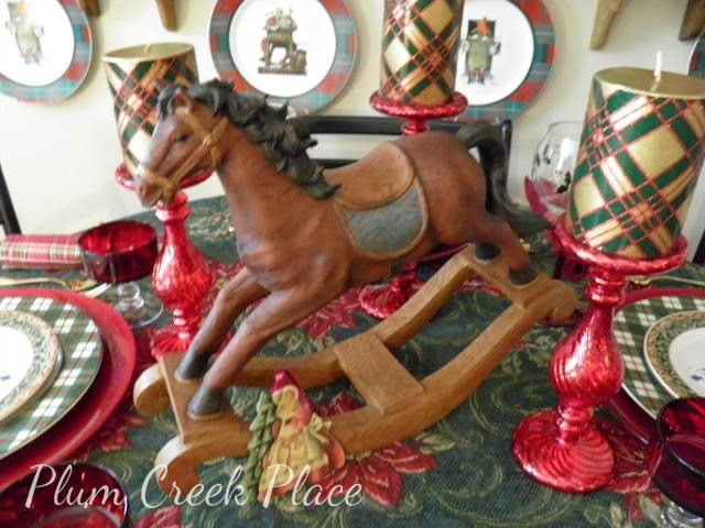 Christmas tablescape, rocking horse