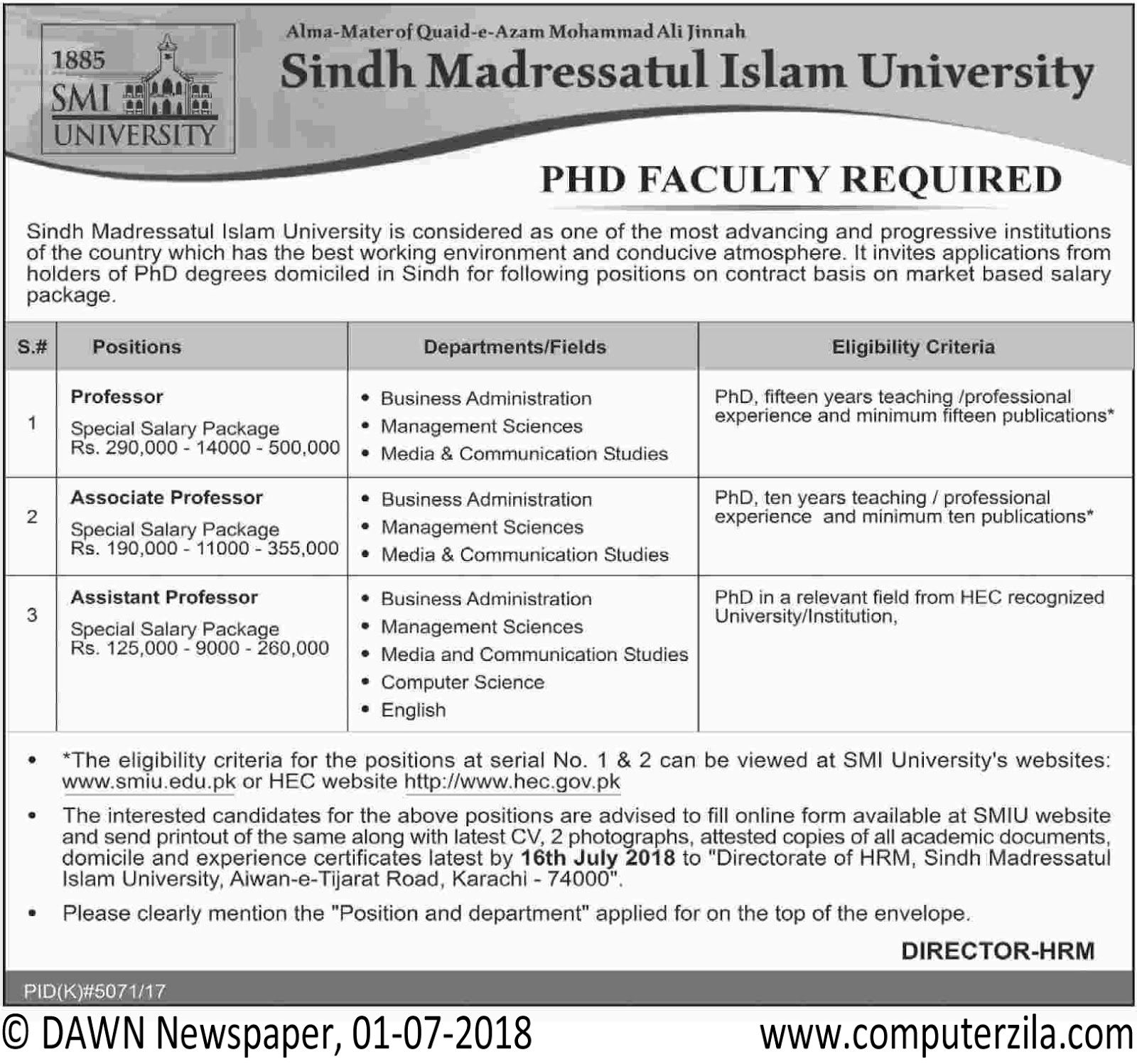 PHD Faculty Required at Sindh Madressatul Islam University