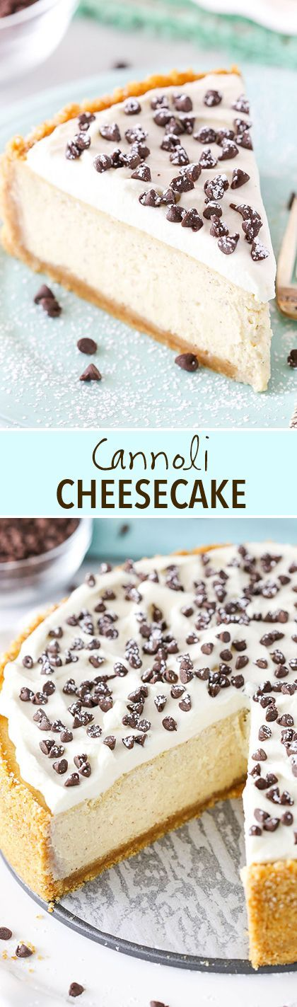 This Cannoli Cheesecake is made with a mix of ricotta and mascarpone cheese for a cheesecake that truly tastes like the classic Italian dessert – with a cheesecake twist! It has a touch of cinnamon and mini chocolate chips for a truly delicious treat!