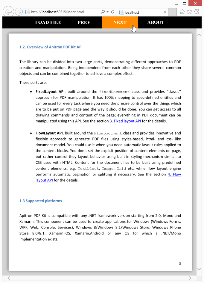 PDF tips & tricks: Web PDF viewer implemented as single page web