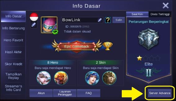 Cara Masuk Advance Server Mobile Legends