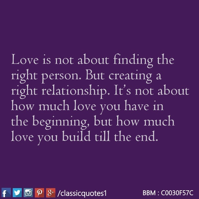 Classic Quotes Love Is Not About Finding The Right Person But