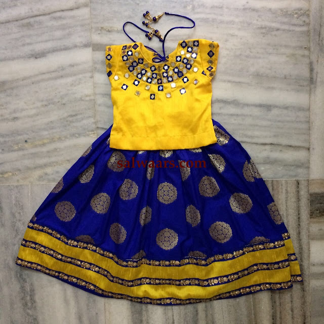 Blue Benaras Lehenga Yellow Mirror Blouse