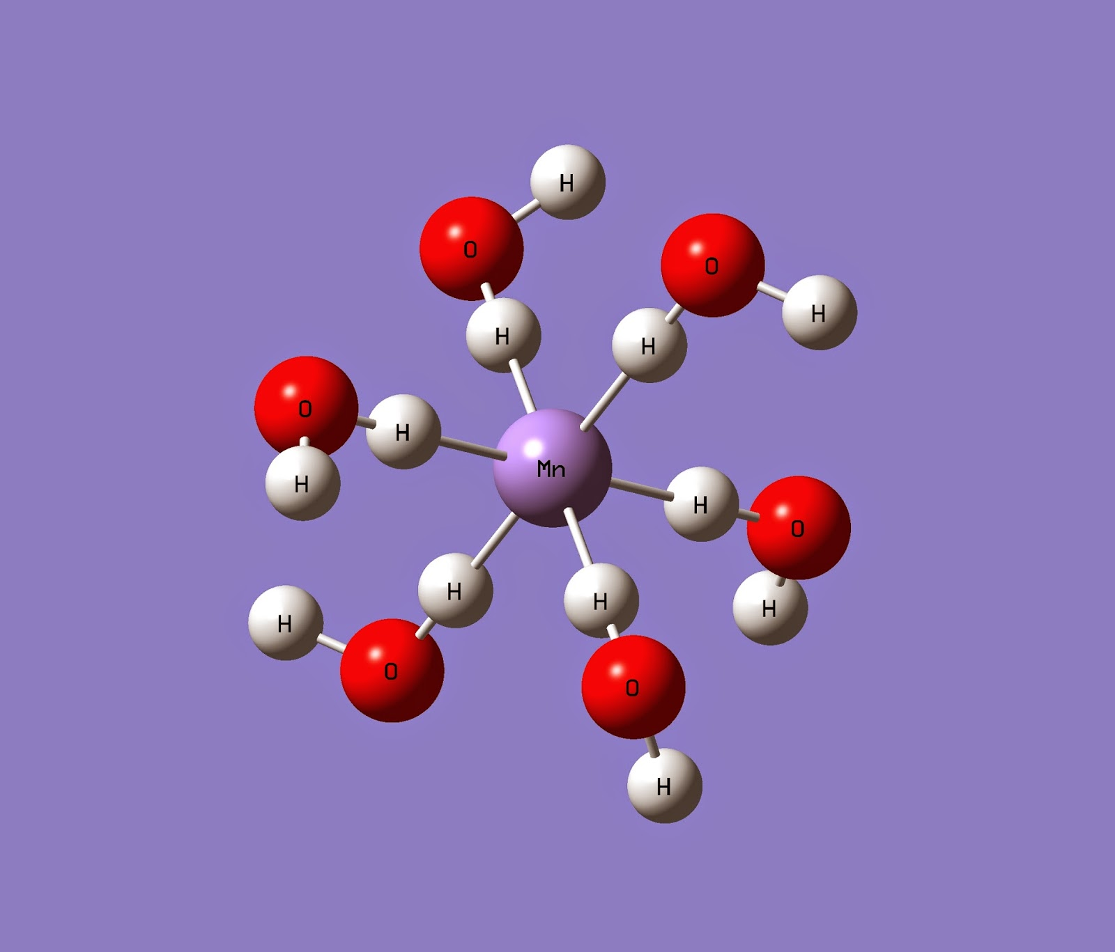 The single point energy of Mn(H2O)6 and its ESP by Gauss view and