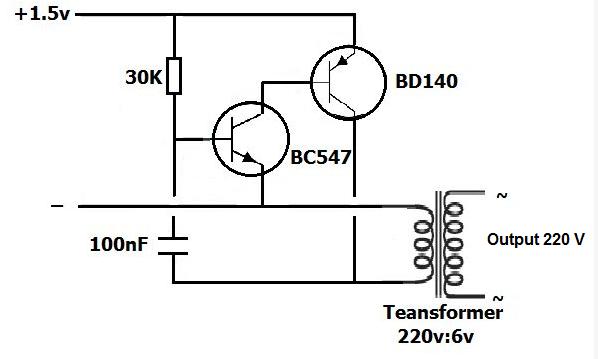 Schema Inverter 1.5V DC to 220V AC Dengan Transistor