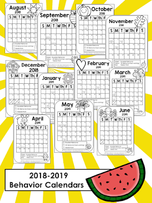 January 2019 Behavior Calendar Colors and Kindergarten: Behavior Calendars 2018 2019
